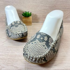 Lucky Brand Snake Skin Flats Gray Shoes Size 6M